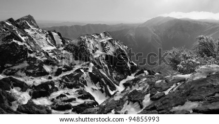 Icy winter summit landscape at Garnet Peak, Cleveland National Forest