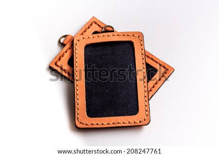 ID Card Holder/Leather ID Card Holder. - stock photo