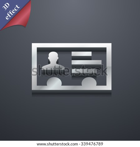 ID card, Identity card badge, cutaway, business card icon symbol. 3D style. Trendy, modern design with space for your text illustration. Rastrized copy - stock photo