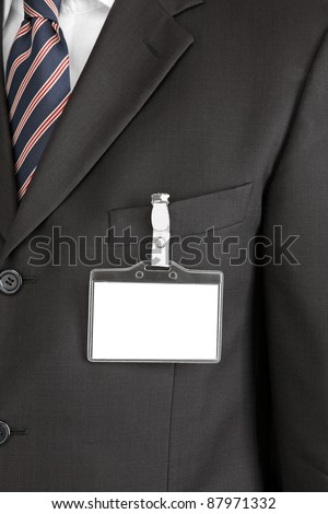 id card on man's suit - stock photo