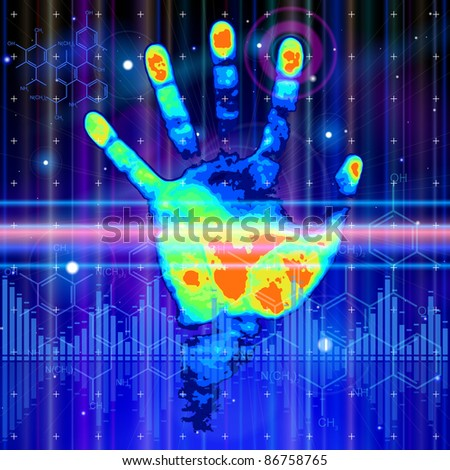 ID concept: color hand print, blue technology background, lights, chemical formulas & digital wave. Bitmap copy my vector 71750911