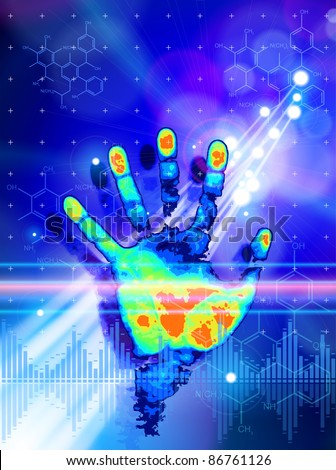 ID concept: color hand print, blue technology background, lights, chemical formulas & digital wave. Bitmap copy my vector id 71749918 - stock photo