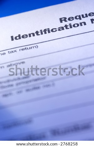 id form (special blue toned photo f/x,focus point on the identification(word)) - stock photo