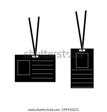 Id icon, pass black template, raster illustration. - stock photo