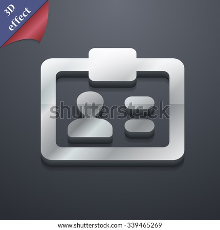 ID, Identity card icon symbol. 3D style. Trendy, modern design with space for your text illustration. Rastrized copy - stock photo