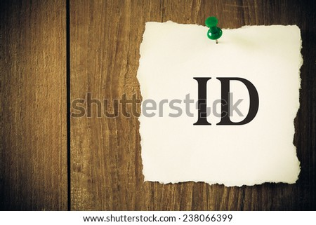 ID on a piece of note paper - stock photo