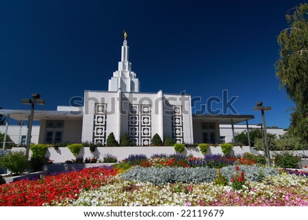 Idaho Falls Temple with flowers