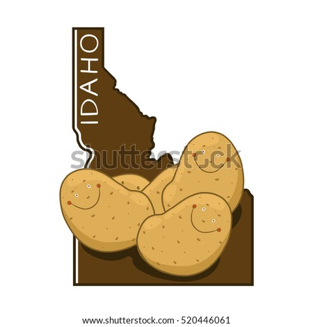Idaho outline and potatoes illustration