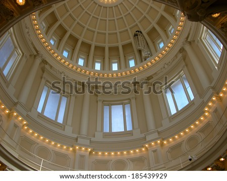Idaho's State Capitol building was constructed between 1905-1920 in Boise. The central rotunda features beautiful marble columns and skylights. It is open to the public.        - stock photo