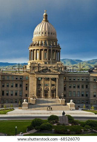 Idaho state Capital with statue and foothills backdrop