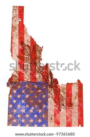 Idaho state of the United States of America in grunge flag pattern isolated on white background - stock photo