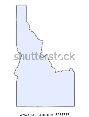 Idaho (USA) light blue map with shadow. High resolution. Mercator projection. - stock photo