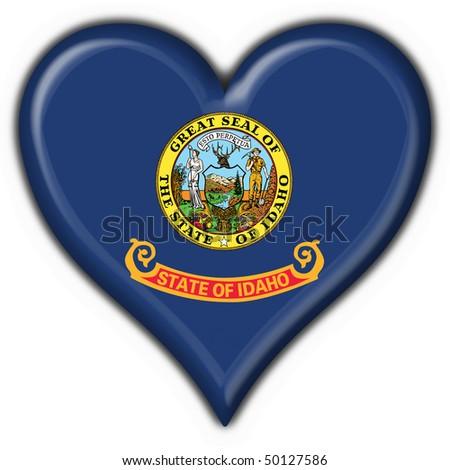 Idaho (USA State) button flag heart shape - stock photo