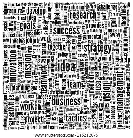 Idea and business concept in word tag cloud on white background - stock photo