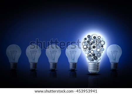 Idea and innovation concept, Light bulb with gears inside