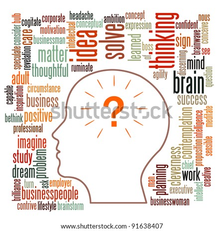 Idea and thinking info-text graphics and arrangement concept on white background - stock photo