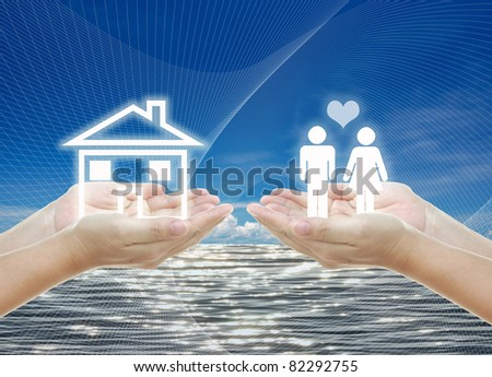 idea artwork for HOME building ,planning, family concepts . - stock photo
