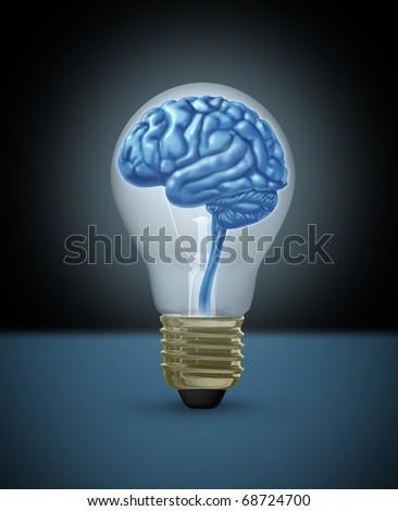 Idea brain light bulb innovation brilliant bright light - stock photo