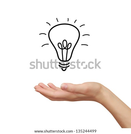 Idea bulb in woman hand holding isolated on white background - stock photo