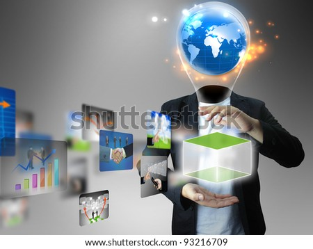 Idea businessman holding business collection - stock photo