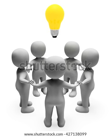 Idea Characters Meaning Light Bulb And Contemplation 3d Rendering - stock photo