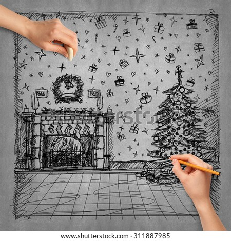 Idea Christmas background sketch and human hand with pencil - stock photo