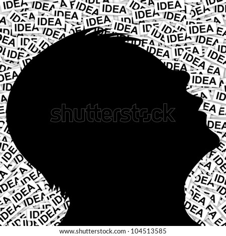 Idea Concept as Many Idea Around You, present by The Man With Many Idea Label Background - stock photo