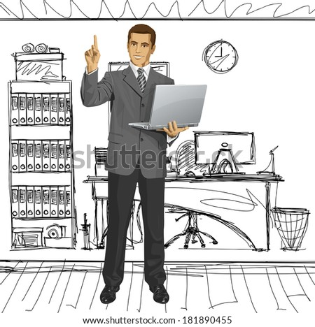 Idea concept. business man shows something with his finger