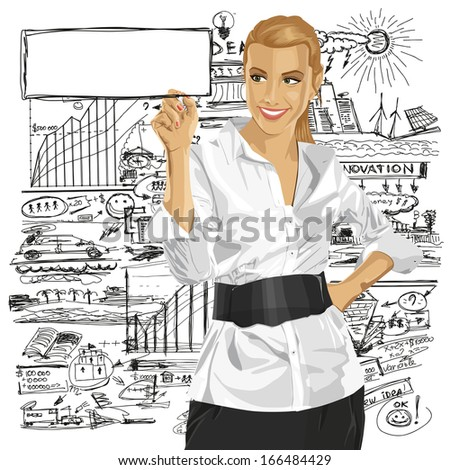 Idea concept. Business woman writing something