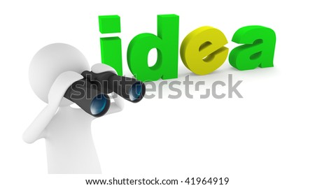Idea concept, depicting 3D man looking for ideas and inspiration with binoculars - stock photo