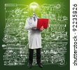 Idea concept, doctor man with lamp head, with laptop in his hands - stock photo