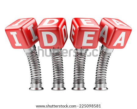 idea concept text with box and spring. 3d illustration isolated on a white background