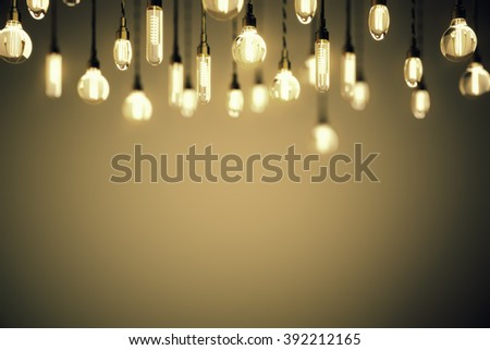 Idea concept with blurred retro light bulbs on a brown background. Mock up, 3D Render - stock photo