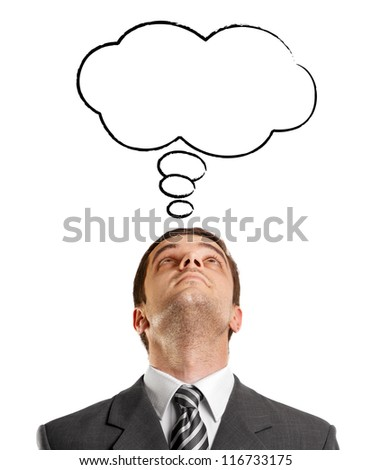 Idea concept with businessman looking upwards, with speech bubble - stock photo