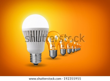 Idea concept with led bulb and tungsten bulbs - stock photo