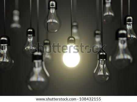 idea concept with light bulbs - stock photo