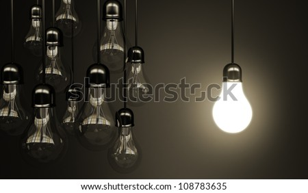 idea concept with light bulbs - stock photo