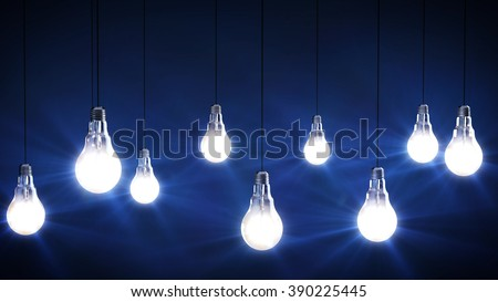 idea concept with light bulbs on a black background