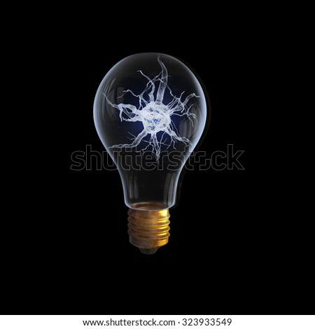 Idea concept with nerve inside of light bulb on black background - stock photo