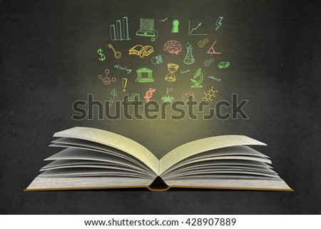 Idea concept with open book, illuminated colorful business sketch on wall. Creative business sketching.3D Rendering