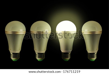 Idea concept with row of LED bulbs, one of them lit up. - stock photo