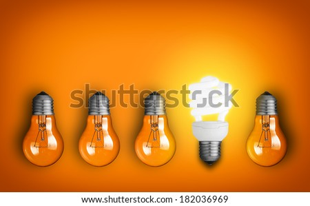 Idea concept with row of light bulbs  - stock photo