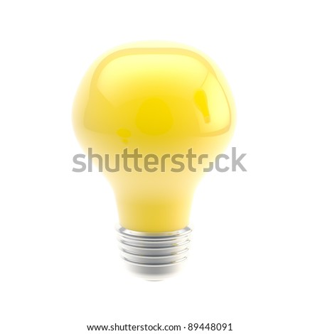 Idea conception: bright yellow bulb isolated on white
