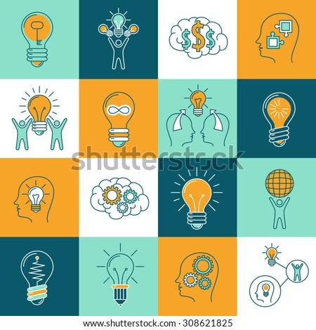 Idea creative innovation thinking icons set with light bulbs and human brain isolated  illustration - stock photo