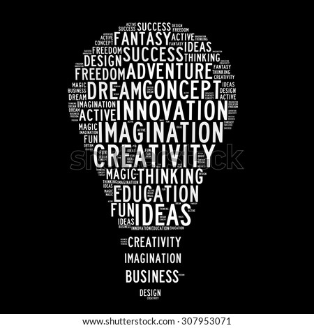 Idea, creativity and innovation in word collage - stock photo