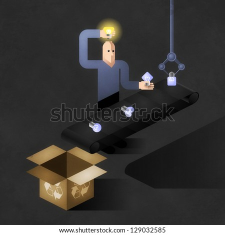 Idea Finder. Cartoon inventor inserting light bulbs into his head - one by one. Picture, illustrated an allegory of inventions - stock photo