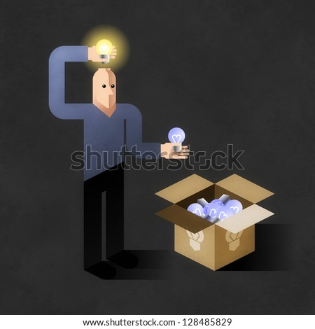 Idea Finder. Cartoon man inserting light bulbs into his head instead of another - one by one. Comic picture, illustrated metaphoric finding new ideas