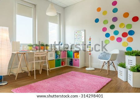 Idea for colorful designed unisex kids room - stock photo