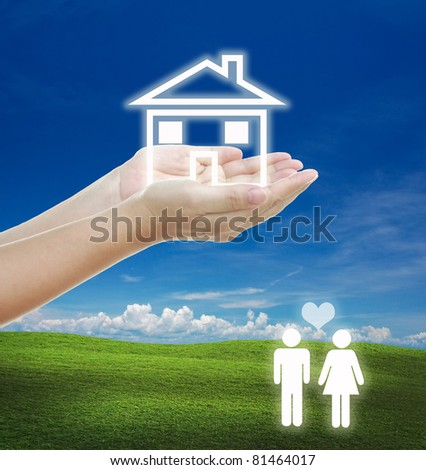 idea for family concept couple with house planning. - stock photo