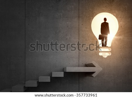 Idea for successful progress and promotion - stock photo
